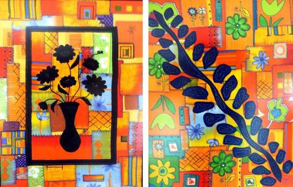 """""""Jarrón con flores"""", 2007 y """"Helecho azul en mi jardín"""", 2010. Artista Paco Borrás. Foto Abel Rojas"""