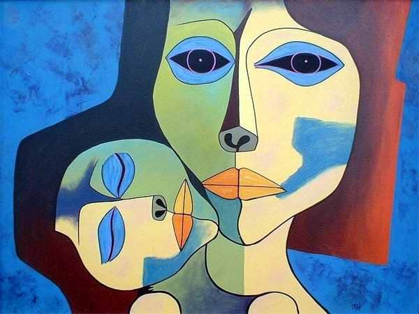Sobre el tema de la maternidad, una pintura al óleo de Oswaldo Guayasamín