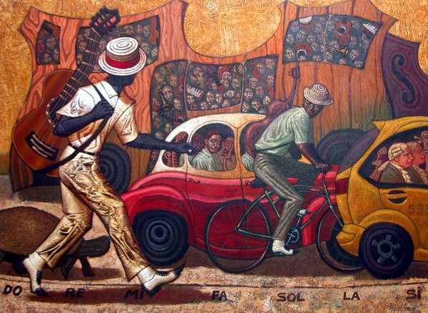 Obra Do re mi fa sol la si del artista Miguel Ángel Arzuaga. Foto Abel Rojas