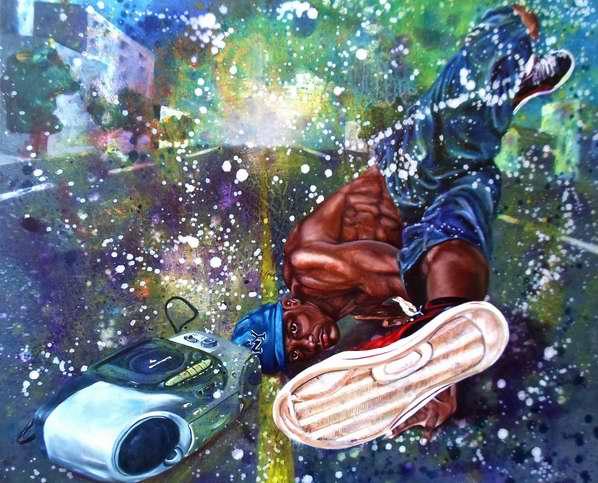 Pie en la calle del artista de la plástica, Roimel Acuña Sierra