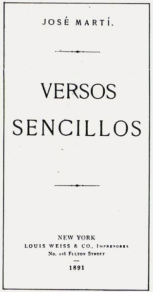 Versos Sencillos de José Martí en 1891