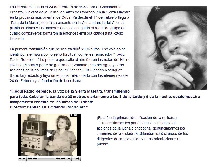 Rebelde es siempre Rebelde. PNG del quiénes somos en la web de Radio Rebelde.
