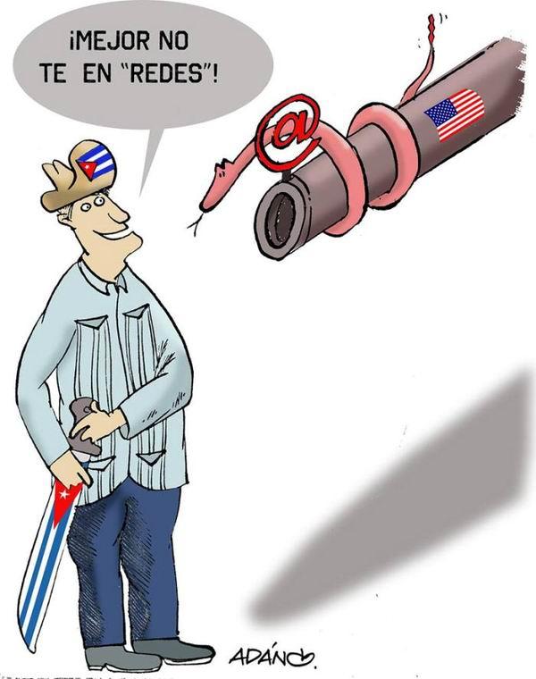 Fuerza de Tarea para la subversión en Cuba. Caricatura Adán