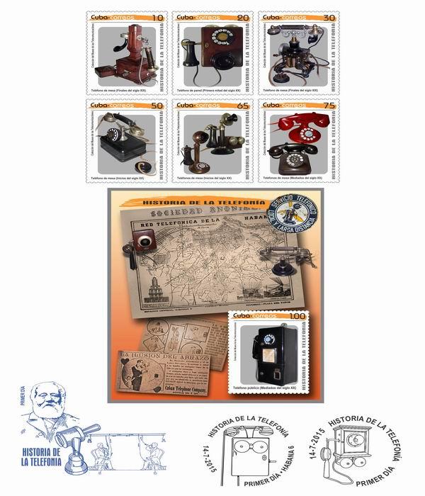 Colección de sellos Historia de la telefonía