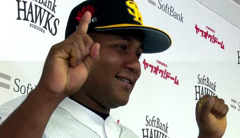 Cuban Alfredo Despaigne plays for the Fukuoka SoftBank Hawks in the Japanese Professional Baseball League