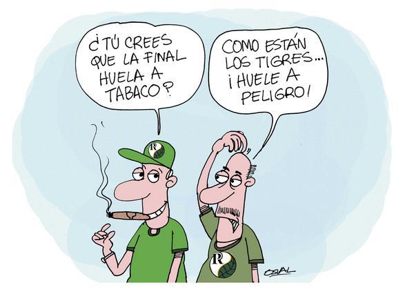 Caricatura relacionada con la final del béisbol cubano, que se juega entre los Tigres avileños, y los Vegueros pinareños, como parte de la 55 Serie Nacional de Béisbol, Ciego de Ávila, Cuba. Por: Osvaldo Gutiérrez