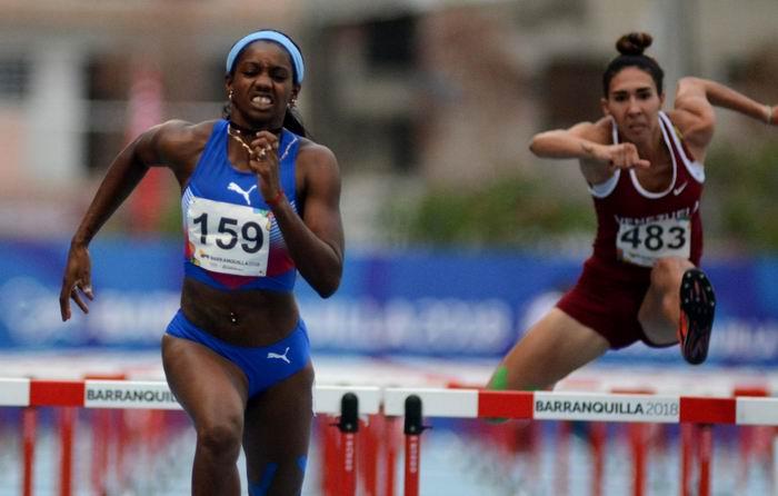 La heptalonista cubana Yorgelis Rodríguez dominó tres de las siete pruebas en disputa, el 31 de julio de 2018, en los XXIII Juegos Centroamericanos y del Caribe, en Barranquilla, Colombia. ACN FOTO/Ricardo LÓPEZ HEVIA
