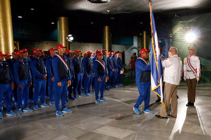 Cuba hands over flag to team to World Baseball Classic