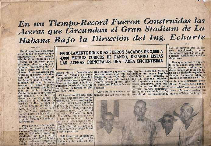 Recorte de periódico que refleja el día inaugural del Gran Stadium de La Habana