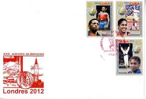 Siete titulares olímpicos cubanos aparecen en la emisión puesta a circular por la Administración postal cubana en ocasión de los XXX Juegos Olímpicos a desarrollarse en Londres