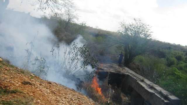 El paso de vehículos sin mata chispa a originado incendios en los laterales de numerosas vías. Foto Carlos Sanabia