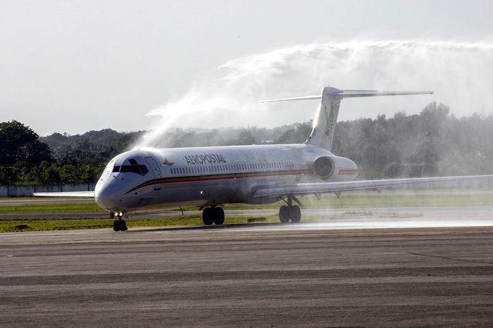 Vuelo inaugural de Aeropostal Alas de Venezuela en el Aeropuerto Internacional José Martí, en La Habana, Cuba, el 8 de agosto de 2018. Foto: Ariel Ley