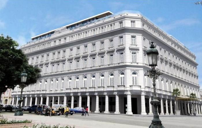 Imagen generada en computación de cómo se vería el hotel desde el Parque Central de La Habana. Foto: Cortesía de Gaviota S.A.