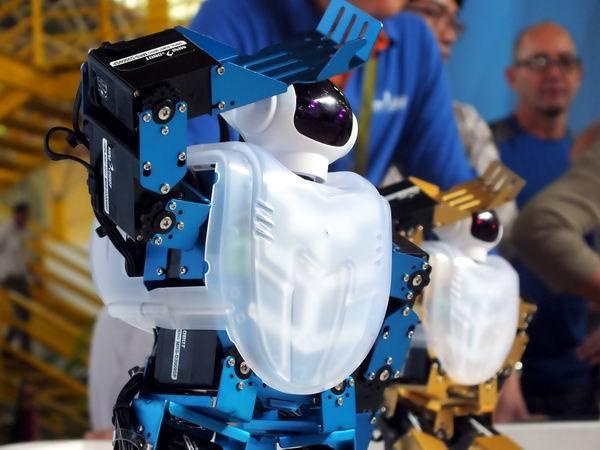 Robot humanoide Robonova II en FIHAV 2014. Foto: Abel Rojas Barallobre