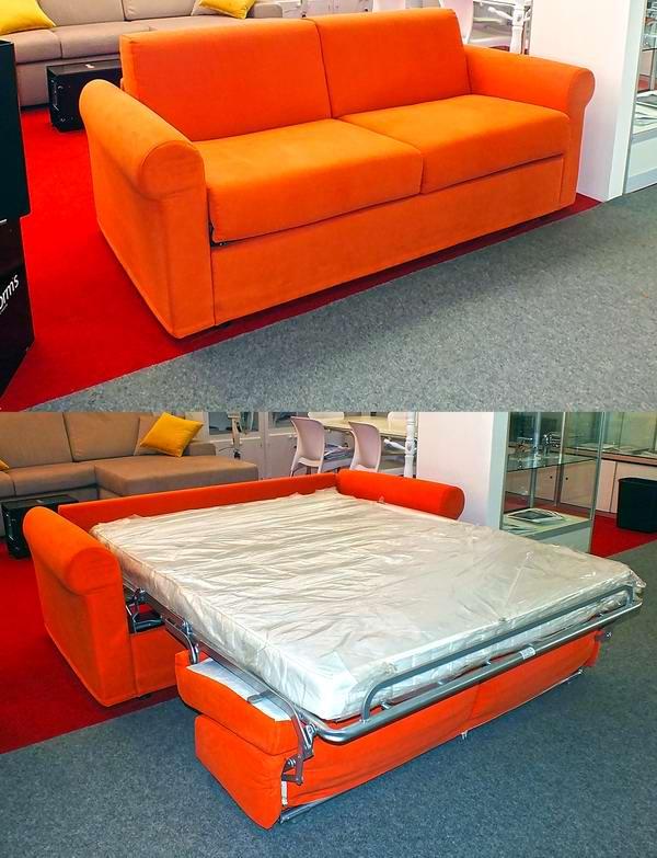 La entidad italiana B. Forms también propone el otro modelo de sofá-cama, la cual aspira en la Feria Internacional de La Habana al Premio del Diseño. Foto Abel Rojas