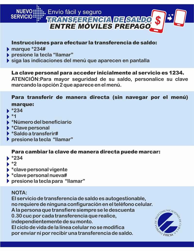Conozca más de la transferencia de saldo con esta infografía de ETECSA