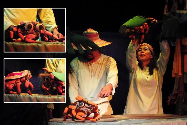 El muchas patas volador se inspira en el cuento infantil El Cangrejo Volador, del escritor cubano Onelio Jorge Cardoso. Esta pieza teatral fue protagonizada por Pequeño Teatro de Muñecos, de Colombia. Fotos Abel Rojas
