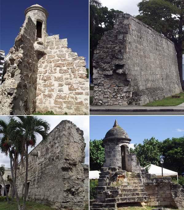 Restos de la muralla: En la actualidad se aprecian en varios lugares el casco histórico de La Habana fragmentos de los que fue anteriormente La Muralla (1674-1797). Su principal objetivo era proteger a los habitantes habaneros de los constantes ataques de corsarios y piratas.  Foto Abel Rojas