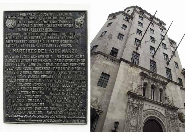 Una tarja conmemorativa a los m�rtires del 13 de marzo se halla en la fachada de un edificio ubicado en Zanja y �guila. Ese d�a, pero de 1957, atacan comandos del Directorio Revolucionario el Palacio Presidencial y toman la emisora Radio Reloj. Foto Abel Rojas