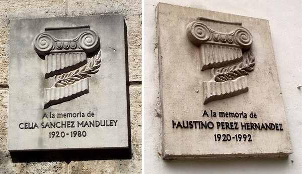 Varias placas se encuentran en la capitalina calle Obrap�a; entre ellas, una en homenaje al Comandante del Ej�rcito Rebelde Faustino P�rez Hern�ndez y otra dedicada a Celia S�nchez Manduley, la flor aut�ctona de la Revoluci�n. Foto Abel Rojas