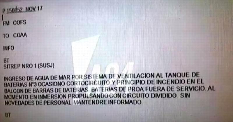 Revelan último texto emitido por el submarino ARA San Juan