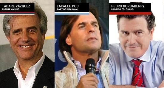Tabaré Vázquez (2005-2010), Luis Lacalle Pou y Pedro Bordaberry serán los principales candidatos para suceder al mandatario uruguayo José Mujica