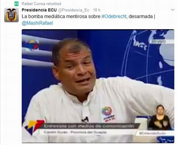 Denuncia Rafael Correa campaña sucia para vincularlo con Odebrecht (+Audio)