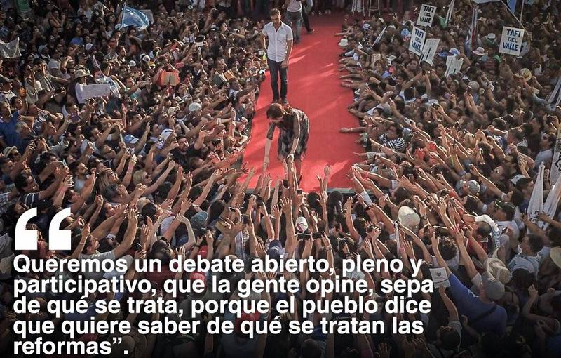 Llama Cristina Fernández a debate nacional contra reforma laboral de Macri