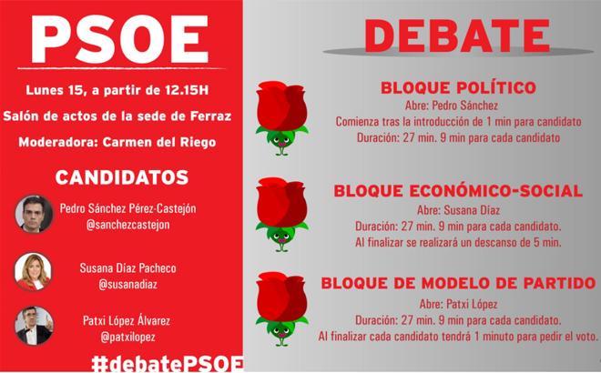 Candidatos a asumir el liderazgo del PSOE exponen sus diferencias en debate