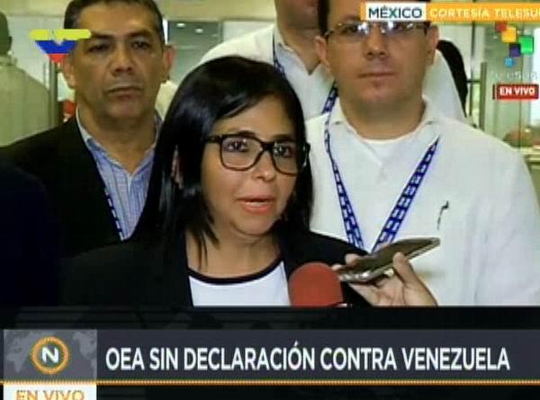 Aseguró Delcy Rodríguez que triunfó la diplomacia venezolana de paz en la OEA