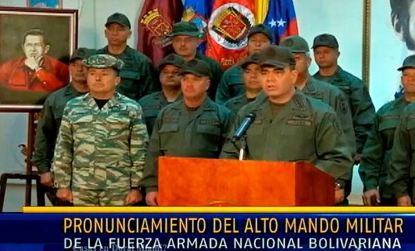 Fuerzas armadas venezolanas reafirman apoyo a Nicol�s Maduro