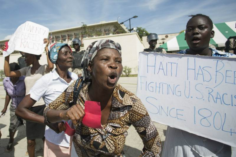 Marcha en Haití contra declaraciones racistas de Trump. Foto: AFP
