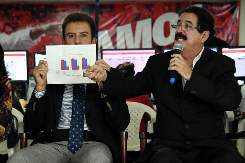 El candidato presidencial por la izquierdista Alianza de Oposición Contra la Dictadura, Salvador Nasralla (I), junto al ex presidente Manuel Zelaya, muestra a la prensa los resultados de las elecciones del pasado 26 de noviembre. Foto: AFP