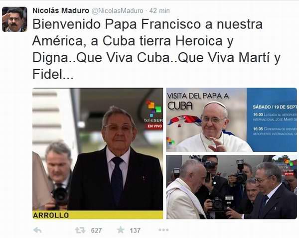 Celebra Presidente Maduro arribo de Papa Francisco a Cuba. Foto Vía Twitter