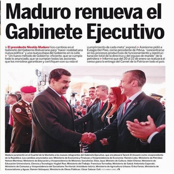 Cambios en el gabinete venezolano