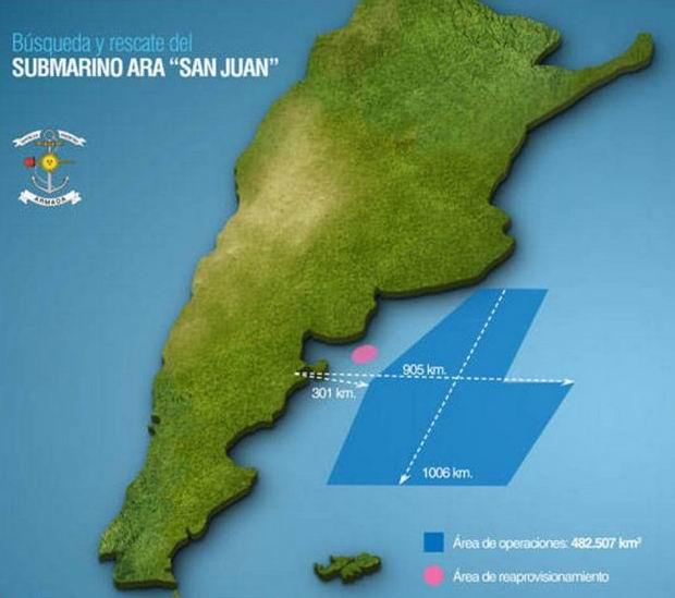 La operación de rescate se lleva a cabo en un área de 482.507 kilómetros cuadrados