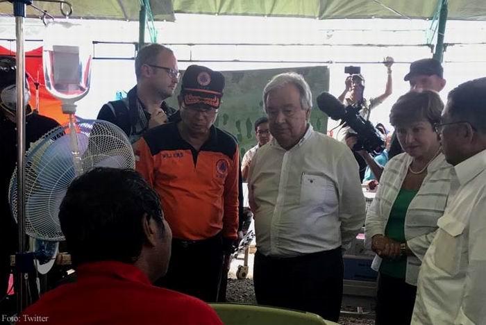 Secretario General de la ONU visita lugar del sismo en Indonesia