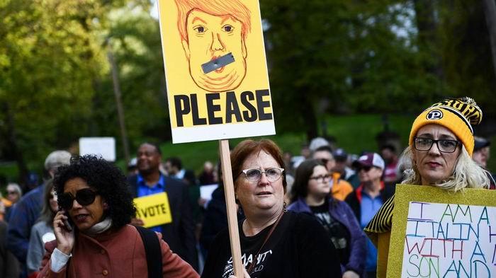 Protestas en Pittsburgh por vista de Trump