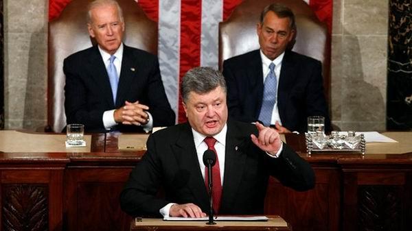 Pide Poroshenko apoyo ante Congreso de Estados Unidos