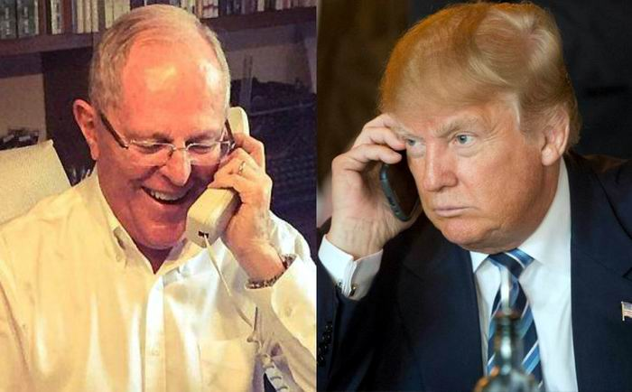 El presidente de Estados Unidos, Donald J. Trump dialogó por teléfono con su homólogo Kuczynski