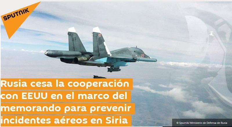 Lanza Rusia dura advertencia tras derribo de avión militar sirio Estados Unidos