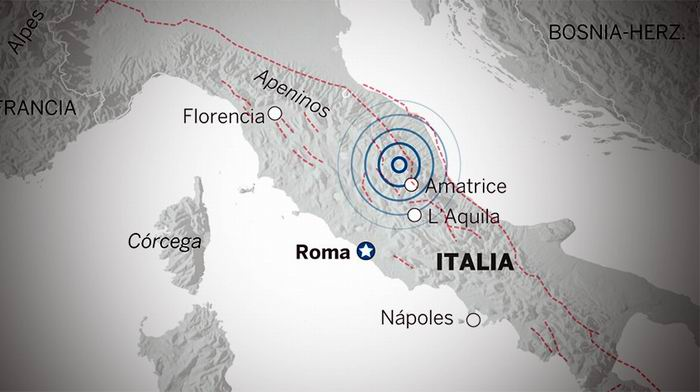 Tres terremotos en Italia