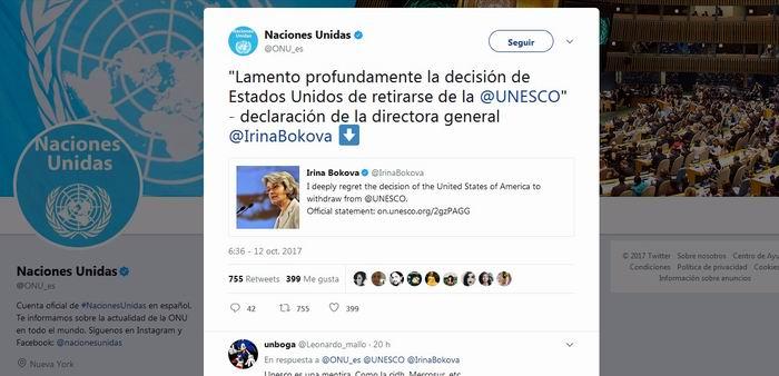 La directora general de la Unesco, Irina Bokova, deploró la decisión estadounidense de retirarse de la organización