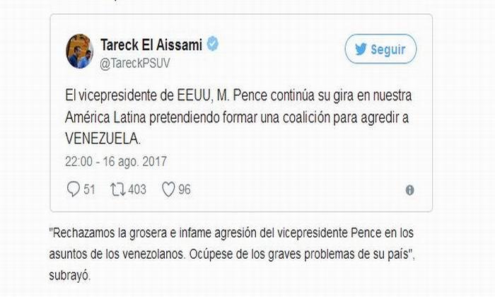 Repudia Venezuela agresión del vicepresidente de Estados Unidos (+Audio)