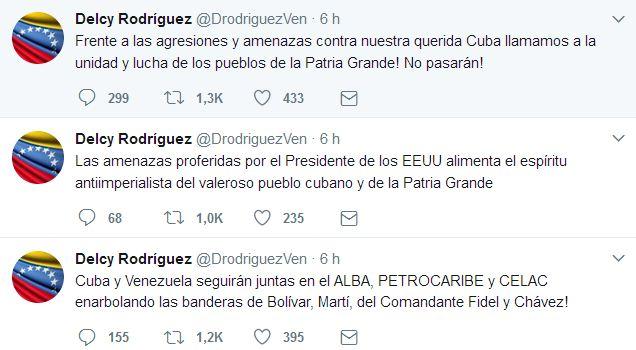 Twitter de la canciller de Venezuela, Delcy Rodríguez