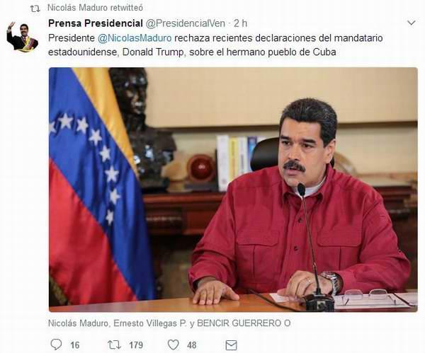 Venezuela expresa solidaridad con Cuba ante los anuncios de Trump